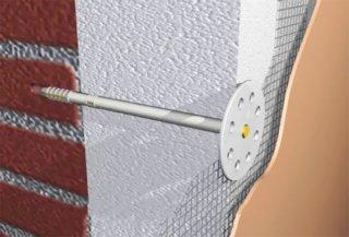 Механічне кріплення плит утеплювача до стіни