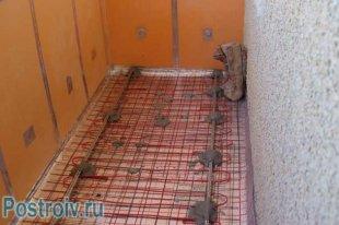 Стяжка підлоги з електро підігрівом.  утеплення балкона